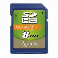 Apacer Memory America - AP8GSDHC4-B - MEMORY CARD SDHC 8GB CLASS 4